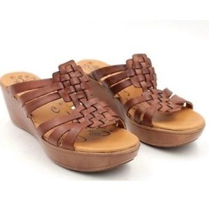 BARE TRAPS DILLIAN BROWN LEATHER WOVEN WEDGES 7